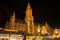 Christmas Market at Marienplatz in Munich. With the town hall stock photos