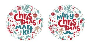 Christmas market and Merry Christmas Set stock illustration