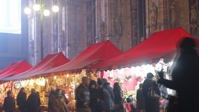 Christmas market in Milan stock video footage