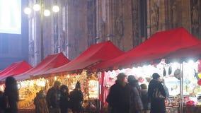 Christmas market in Milan stock video footage