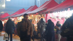 Christmas market in Milan stock footage