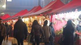 Christmas market in Milan stock footage