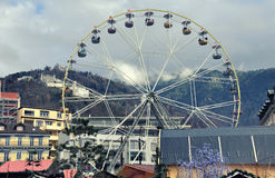 Christmas Market in Montreux, Switzerland royalty free stock photo
