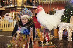 Christmas market in Moscow. Red Square Stock Photography