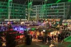 Christmas Market in the Munich Airport, Germany stock photos