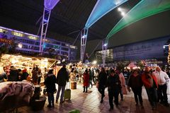 Crowd at food stalls in Christmas Market from Munich Airport, wide view, Germany stock photos