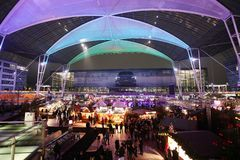 Christmas Market in Munich Airport, MUC, View from above, Germany stock image