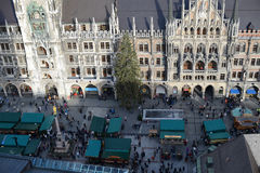 Christmas market on Munich Marienplatz in centre of city Stock Image