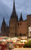 Christmas market near Cathedral  in Barcelona Royalty Free Stock Images