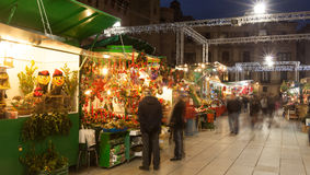 Christmas market near Cathedral  in Barcelona, Spain Royalty Free Stock Images