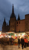 Christmas market near Cathedral in Barcelona, Spain Royalty Free Stock Photos