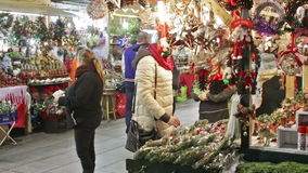Christmas market near Cathedral. BARCELONA, SPAIN - DECEMBER 1, 2015: Traditional toys and gifts at Christmas Market in night. Barcelona, Spain. Fira de Santa