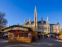 Christmas Market near City Hall in Vienna Austria Royalty Free Stock Photos