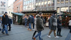 Christmas market at night stock video footage