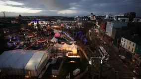 Christmas Market at night. Areal view stock video footage