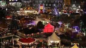 Christmas Market at night. Areal view stock footage