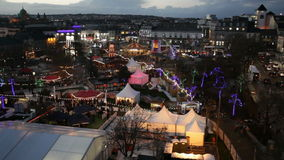 Christmas Market at night. HD video of Galway Continental Christmas Market at night. Areal view, Detail. Ireland stock footage