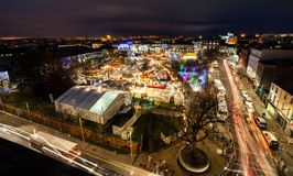 Christmas Market at night, panoramic view Royalty Free Stock Photo
