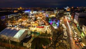 Christmas Market at night, panoramic view Stock Photo