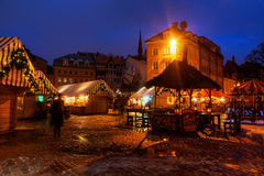 Christmas market at night in Riga Royalty Free Stock Photo