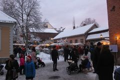 Christmas market in the Norwegian Folk Museum, Oslo, Norway stock images