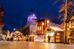 Christmas Market in Old Market Square, Nottingham royalty free stock image