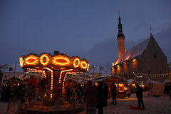 Christmas market in old town Royalty Free Stock Photo