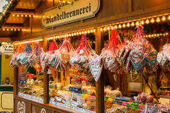 Christmas market in the old town of Potsdam. Selling traditional sweets and gingerbread. Stock Photos