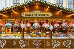 Christmas market in the old town of Potsdam. Selling traditional sweets and gingerbread. Royalty Free Stock Photos