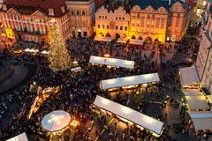 Christmas market in Old Town of Prague, Czechia as seen from abo Stock Image