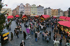 Christmas market at the Old Town Square in Prague Royalty Free Stock Photos