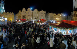 Christmas market on the Old Town Square in Prague Royalty Free Stock Images