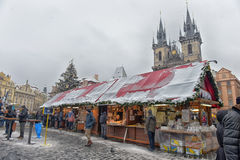 Christmas market on the Old Town Square Royalty Free Stock Image