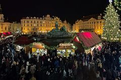 Christmas market on the Old Town Square in Prague, Czech Republic Royalty Free Stock Photo