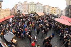 Christmas market on Old Town Square in Prague Stock Photos
