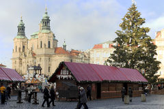 Christmas market at the Old Town Square in Prague Stock Photo