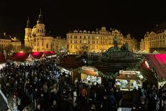 Christmas market on the Old Town Square in Prague, Czech Republic Royalty Free Stock Photography