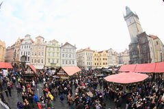 Christmas market on Old Town Square in Prague Royalty Free Stock Photography