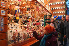 Christmas market. People shopping for Christmas presents in Luxembourg Christmas market stock photo