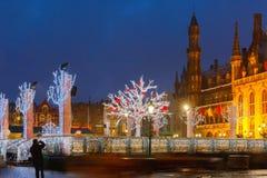 Christmas Market Place at Bruges, Belgium Stock Photo