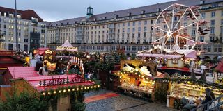 Christmas market place stock photography