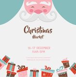 Christmas market poster with santa and presents. vector illustration Royalty Free Stock Photo
