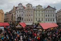 The Christmas market in Prague. Christmas celebration. royalty free stock photo