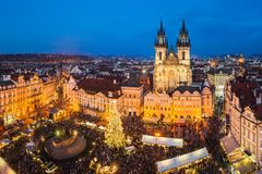 Christmas market in Prague, Czech Republic royalty free stock images
