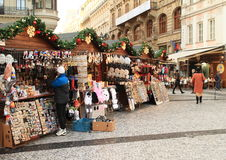 Christmas market in Prague royalty free stock images