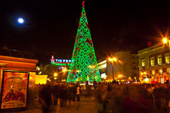Christmas market at Puerta de Sol in Madrid Royalty Free Stock Images