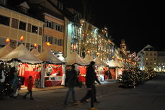 Christmas market in Ravensburg. Traditional Christmas market Scene in Ravensburg, Germany Dec 2015 Stock Photos