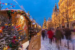 Christmas market at the Red Square, Moscow, Russia Stock Image