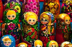 Christmas Market in Red Square, Moscow. Sale of toys, famous and popular fairy-tale characters, figurines. Matryoshka. Nesting doll Royalty Free Stock Image