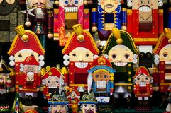 Christmas Market in Red Square, Moscow. Sale of toys, famous and popular fairy-tale characters, figurines. Nutcracker royalty free stock images